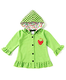 Addis Polka Dot Printed Jacket With Hood - Green