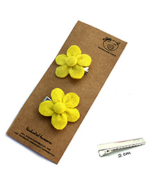 Pigtails And Ponys Felt Flower Hair Clips - Yellow