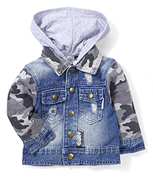 Little Denim Store Jacket With Hoodie - Blue