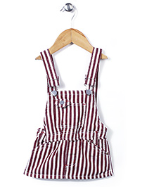 Little Denim Store Stripe Print Dungaree - Maroon