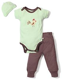 Dreamcatcher Bird Print Pant, Shirt & Cap - Green