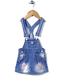 Little Denim Store Dungaree With Front Pockets - Blue