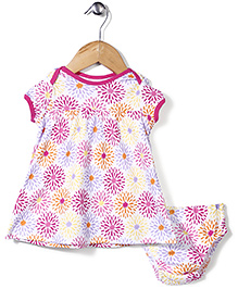 Dreamcatcher Floral Print Dress With Bloomer - Pink