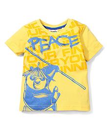 Babyhug Half Sleeves T-Shirt Peace Print - Yellow