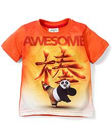 Babyhug Half Sleeves T-Shirt Awesome Print - Orange