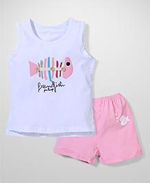El Hogares Fish  Print 2 Pc Set - Pink