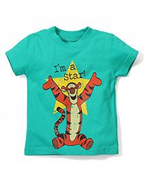 Disney by Babyhug Half Sleeves T-Shirt Tiger Print - Green