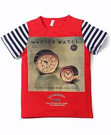 Baobaoshu Watch Print T-Shirt - Red