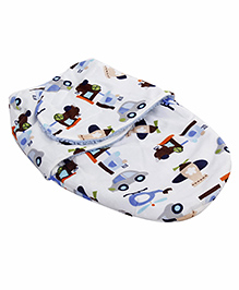 Little Wacoal Vehicle Print Blanket - White