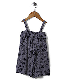 Candy Rush Floral Print Jumpsuit - Grey