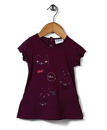 Little Wonder Top With Cat Applique - Purple