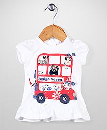 Little Wonder Car Print Top - White