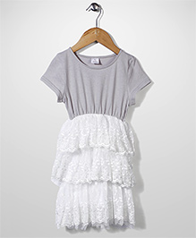 Candy Rush Frill Dress With Natted Flower  - White
