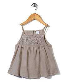 Candy Rush Embroiderd Top - Brown