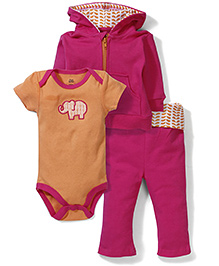 Yoga Sprout Onesie Jacket & Pant Set - Orange & Pink