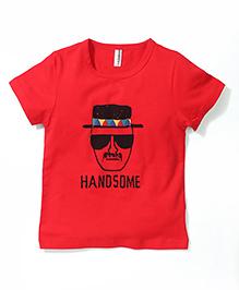 Baobaoshu Handsome Print Tee - Red