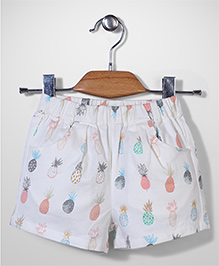 Candy Hearts Pineapple Print Shorts - White