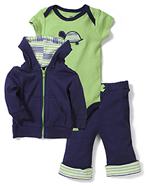 Yoga Sprout Stylish Jacket Onesie & Pant Set - Navy Blue & Green