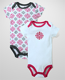 Yoga Sprout Pack Of 2 Onesies - White & Pink