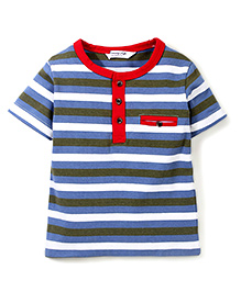 Candy Hearts Striped Tee - Blue & Grey