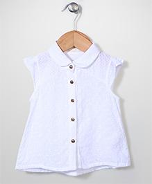 Dreamcatcher Pretty Top With Flower Design - White