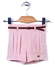 Dreamcatcher Pleated Shorts With Belt - Pink