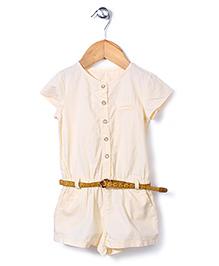 Dreamcatcher Short Sleeve Dress With Belt - White