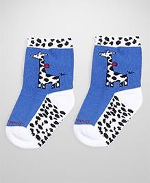 Mustang Ankle Length Socks Giraffe Design - Blue