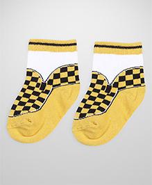Mustang Ankle Length Socks Checks Design - Yellow