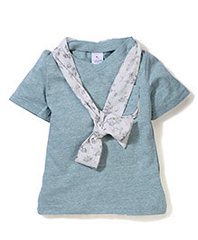 Candy Rush T-Shirt With Tie Design - Blue