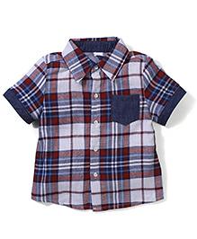 Candy Rush Check Half Sleeve Shirt - Blue