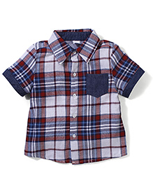 Candy Rush Check Half Sleeve Shirt - Blue
