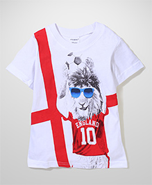 Poly Kids Casual Printed Tee - White