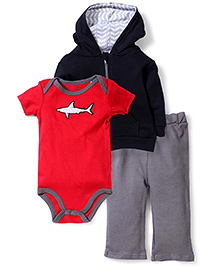 Yoga Sprout Shark Print Pant, Jacket & Onesie - Red & Black