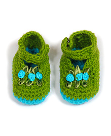 The Original Knit Handcrafted Satin Flower Booties - Green & Blue