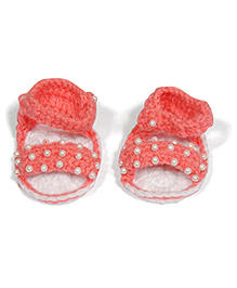 The Original Knit Handcrafted Sandal With Pearls - Pink