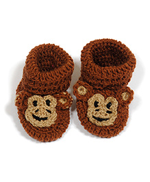 The Original Knit Handcrafted Booties With Monkey Design - Brown