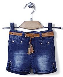 Little Denim Store Shorts & Belt Set - Blue