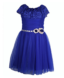 Cutecumber Sleeveless Net Dress With Lace And Floral Embellishments - Blue