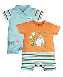FS Mini Klub Short Sleeves Romper Set of 2 - Orange Blue