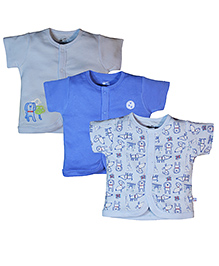 FS Mini Klub Short Sleeves Vests Set of 3 - Blue And Grey