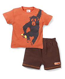Candy Rush Gorila Print Tee & Shorts Set - Orange & Brown