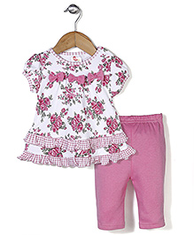 Candy Rush Floral Print Top & Leggings Set - Pink & White