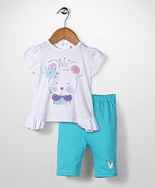 Candy Rush Cat Print Top And Leggings - Blue