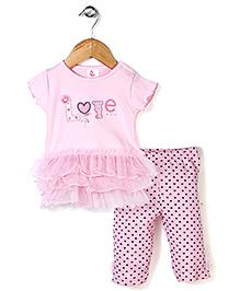 Candy Rush Love Print Top & Leggings Set - Light Pink