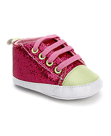 Luvable Friends Shimmer Shoes With Lace - Pink