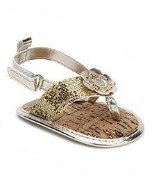 Luvable Friends Metallic Flower Shimmer Sandals - Golden