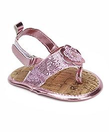 Luvable Friends Metallic Flower Shimmer Sandals - Baby Pink