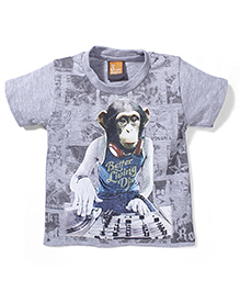 Little Kangaroos Half Sleeves T-Shirt Chimp Print - Grey