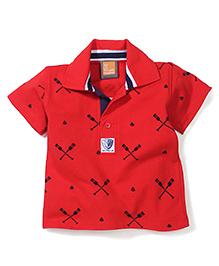 Little Kangaroos Half Sleeves T-Shirt Crossed Oars Print - Red